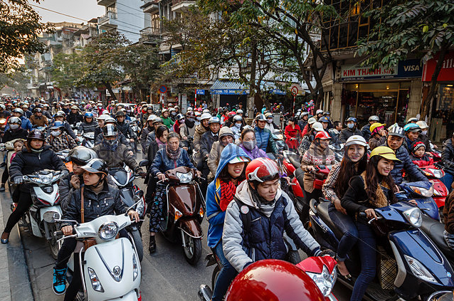 Traffic is busy in Hanoi's Old Quarter!