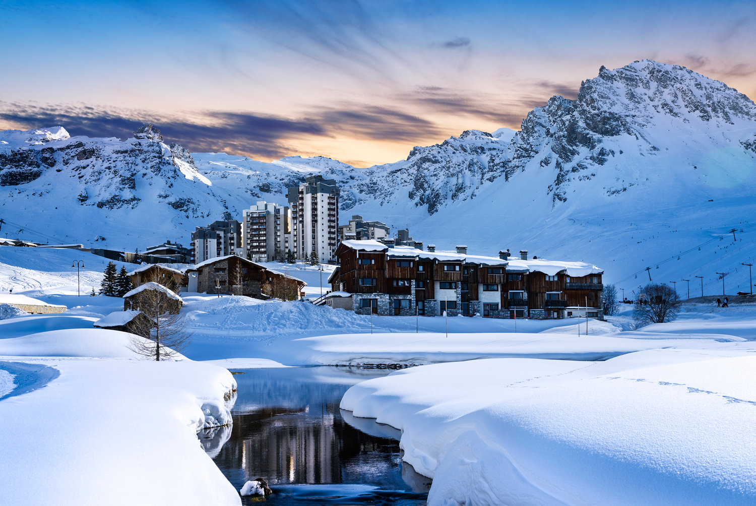 Evening landscape and Club Med ski resort in French Alps,Tignes, France